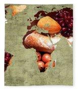 Abstract World Map - Harvest Bounty - Farmers Market Fleece Blanket