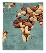 Abstract World Map - Mixed Nuts - Snack - Nut Hut Fleece Blanket