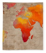 Abstract World Map - Rainbow Passion - Digital Painting Fleece Blanket