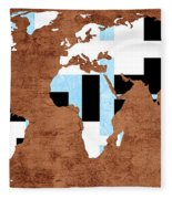 Abstract World Map - Which Way Is Up - Painterly Fleece Blanket