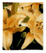 Abstract Yellow Asiatic Lily - 1 Fleece Blanket