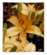 Abstract Yellow Asiatic Lily - 2 Fleece Blanket