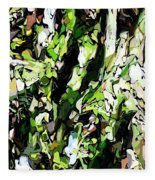 Abstraction Green And White Fleece Blanket