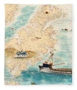 Accomplice Kodiak Crab Fishing Boat Cathy Peek Nautical Chart Map  Fleece Blanket
