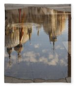 Acqua Alta Or High Water Reflects St Mark's Cathedral In Venice Fleece Blanket