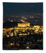 Acropolis At Night Fleece Blanket