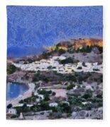 Acropolis Village And Beach Of Lindos Fleece Blanket