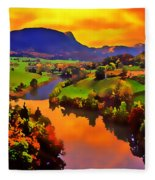 Across The Valley Fleece Blanket