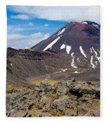 Active Volcanoe Cone Of Mt Ngauruhoe New Zealand Fleece Blanket