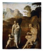 Adam And Eve With Cain And Abel Fleece Blanket