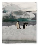 Adelie Penguins On Ice Fleece Blanket