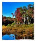 Adirondack Stream In Autumn Fleece Blanket