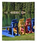 Adirondacks At Jasper Lodge Fleece Blanket