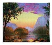 Adirondacks Sunset Fleece Blanket