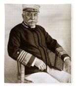 Admiral Of The Navy George Dewey Seen In 1899 On The Uss Olympia Fleece Blanket