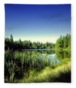 Admiring The Beauty At Woodbridge Lake Fleece Blanket