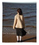 Admiring The Ocean Fleece Blanket