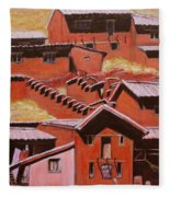 Adobe Village - Peru Impression II Fleece Blanket