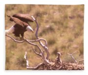 Adult Eagle With Eaglet  Fleece Blanket