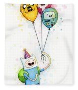 Adventure Time Finn With Birthday Balloons Jake Princess Bubblegum Bmo Fleece Blanket