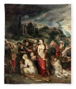 Aeneas And His Family Departing From Troy Fleece Blanket
