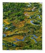 Aerial Of A Wetland, Over Northern Fleece Blanket
