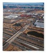 Aerial Over Newark Fleece Blanket