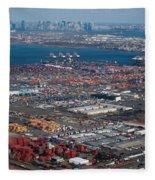 Aerial Over Newark And New Yourk Fleece Blanket