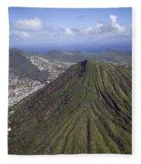Aerial View Honolulu Hawaii Fleece Blanket