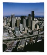 Aerial View Of A City, Seattle Fleece Blanket