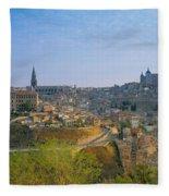 Aerial View Of A City, Toledo, Spain Fleece Blanket