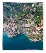 Aerial View Of A Town, Atrani, Amalfi Fleece Blanket