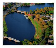 Aerial View Of Charles River With Views Fleece Blanket