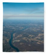 Aerial View Of Earth In Usa Fleece Blanket