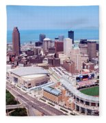 Aerial View Of Jacobs Field, Cleveland Fleece Blanket
