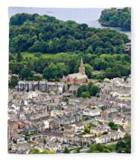 Aerial View Of Keswick In The Lake District Cumbria Fleece Blanket