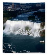 Aerial View Of Niagara Falls And River And Maid Of The Mist Fleece Blanket