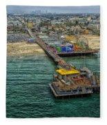 Aerial View Of Santa Monica Pier Fleece Blanket