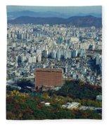 Aerial View Of Seoul South Korea Fleece Blanket