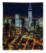 Aerial View Of The Lower Manhattan Skyscrapers By Night Fleece Blanket