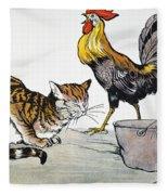 Aesop: Cat, Cock, And Mouse Fleece Blanket