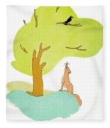 Aesop: Fox & Crow Fleece Blanket