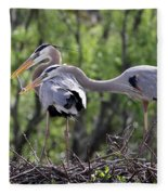 Affectionate Great Blue Heron Mates Fleece Blanket