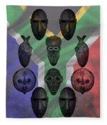 Africa Flag And Tribal Masks Fleece Blanket