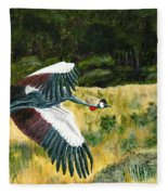 African Crowned Crane Painting Fleece Blanket