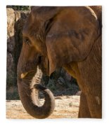 African Elephant Profile Fleece Blanket