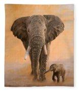 African Elephants Fleece Blanket