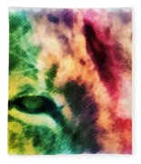 African Lion Eyes 2 Fleece Blanket