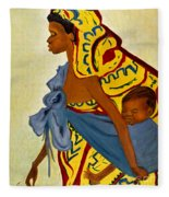 African Mother And Child Fleece Blanket