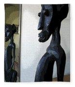 African Statue Reflection Fleece Blanket